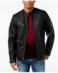 INC International Concepts | Black Men's Faux Leather Zip-front Moto Jacket, Only At Macy's for Men | Lyst