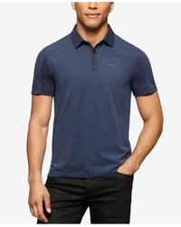 Calvin Klein - Blue Liquid Cotton Colorblocked Polo Shirt for Men - Lyst