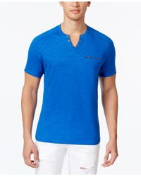 INC International Concepts | Blue Dean Split-neck Heathered T-shirt for Men | Lyst