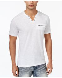 INC International Concepts | White Men's Dean Split-neck T-shirt, Only At Macy's for Men | Lyst