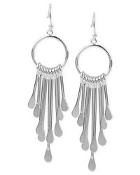 Touch Of Silver | Metallic Circle Fringe Drop Earrings In Silver-plated Metal | Lyst