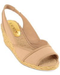 Lauren by Ralph Lauren - Natural Catrin Wedge Sandals - Lyst