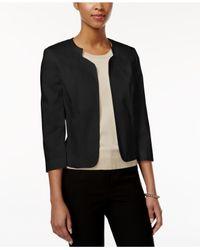 Tahari | Black Three-quarter-sleeve Open-front Jacket | Lyst