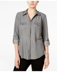 Style & Co. | Gray Utility Shirt, Only At Macy's | Lyst