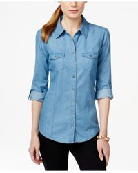 Style & Co. | Blue Utility Shirt, Only At Macy's | Lyst
