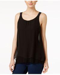 Kensie | Black Sleeveless Crochet-trim Tank Top | Lyst