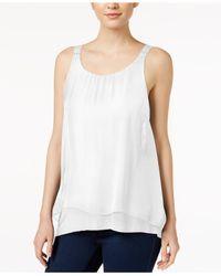 Kensie | White Sleeveless Crocheted-strap Tank Top | Lyst
