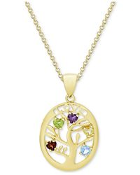 Macy's - Metallic Multi-gemstone Tree Of Life Pendant Necklace (3/4 Ct. T.w.) In 14k Gold-plated Sterling Silver - Lyst