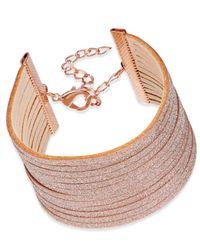 INC International Concepts | Rose Gold-tone Pink Sparkle Faux Leather Bracelet | Lyst