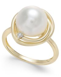Macy's | Metallic Cultured Freshwater Pearl (10mm) And Diamond Accent Swirl Ring In 14k Gold | Lyst