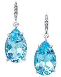 Macy's | Blue Topaz (8-1/2 Ct. T.w.) And Diamond Accent Pear Drop Earrings In Sterling Silver | Lyst