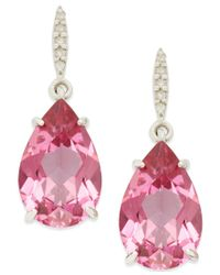 Macy's - Pink Topaz (8-1/2 Ct. Tw.) And Diamond Accent Drop Earrings In Sterling Silver - Lyst
