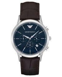 Emporio Armani   Multicolor Men's Automatic Chronograph Renato Dark Brown Leather Strap Watch 43mm Ar2494 for Men   Lyst