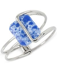 Kenneth Cole | Blue Silver-tone Large Stone Hinged Bangle Bracelet | Lyst