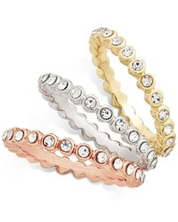 INC International Concepts | Metallic Tri-tone Stackable Crystal Trio Ring Set | Lyst