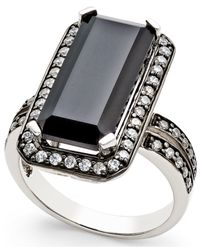 Macy's | Metallic Onyx (8x18mm) And Swarovski Zirconia Statement Ring In Sterling Silver | Lyst