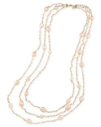 Carolee - Gold-tone Imitation Pink Pearl Triple Row Necklace - Lyst