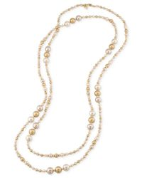 Carolee - Metallic Gold-tone Imitation Multicolor Pearl Long Rope Necklace - Lyst
