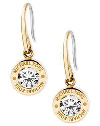 Michael Kors   Metallic Bezel Set Crystal Logo Drop Earrings   Lyst