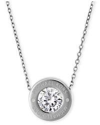 """Michael Kors   Metallic 16"""" Bezel Set Crystal Logo Pendant Necklace   Lyst"""