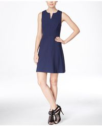 Kensie | Blue Sleeveless Split-neck A-line Dress | Lyst
