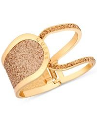 Guess | Metallic Gold-tone Glitter In Stone Hinged Openwork Bangle Bracelet | Lyst