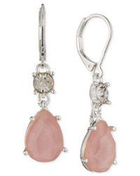Nine West - Metallic Silver-tone Pink Stone And Crystal Drop Earrings - Lyst