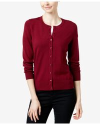 Charter Club Red Crew-neck Cardigan, Only At Macy's