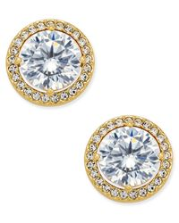 Danori | Metallic Gold-tone Cubic Zirconia Framed Stud Earrings, Only At Macy's | Lyst