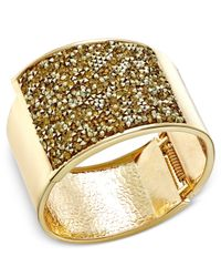 INC International Concepts | Metallic Ose Gold-tone Glittery Wide Hinged Bangle Bracelet | Lyst