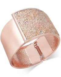 INC International Concepts | Pink Rose Gold-tone Glittery Wide Hinged Bangle Bracelet, Only At Macy's | Lyst