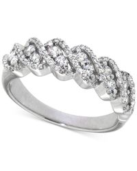 Macy's | Metallic Diamond Twisted Band (1/2 Ct. T.w.) In 14k White Gold | Lyst