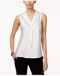 Tahari | White Sleeveless Tie-neck Blouse | Lyst
