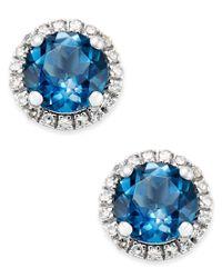 Macy's | Blue Topaz (1-3/4 Ct. T.w.) And Diamond (1/6 Ct. T.w.) Stud Earrings In 14k White Gold | Lyst