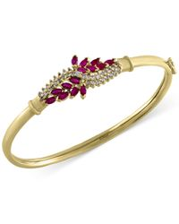 Effy Collection - Metallic Ruby (1-3/5 Ct. T.w.) And Diamond (1/2 Ct. T.w.) Bangle Bracelet In 14k Gold - Lyst