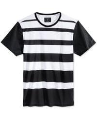 Guess - Black Men's Stream Stripe Faux-leather-sleeve T-shirt for Men - Lyst