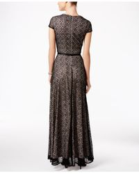 Alex Evenings - Black Textural Belted Evening Gown - Lyst