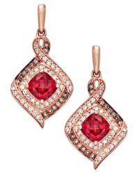 Macy's | Red Rhodolite Garnet (2 Ct. T.w.) And Diamond (3/8 Ct. T.w.) Drop Earrings In 14k Rose Gold | Lyst