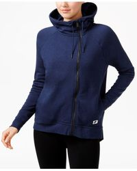 Nike - Blue Asymmetrical Zip Hooded Jacket - Lyst