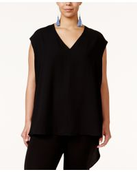 RACHEL Rachel Roy | Black Curvy Trendy Plus Size Sydney High-low Blouse | Lyst