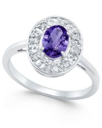 Macy's | Blue Tanzanite (1 Ct. T.w.) And Diamond (1/5 Ct. T.w.) Ring In 14k White Gold | Lyst
