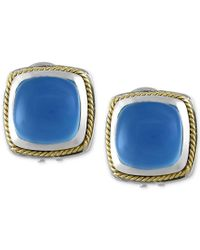 Effy Collection   Blue Chalcedony (6-1/3 Ct. T.w) Square Earrings In Sterling Silver With 18k Gold Accents   Lyst