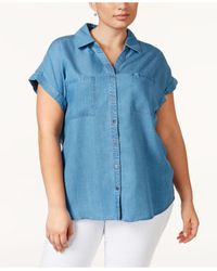 Style & Co. | Blue Plus Size Short-sleeve Denim Shirt, Only At Macy's | Lyst