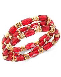 Nine West - Gold-tone 3-pc. Set Pavé & Red Bead Stretch Bracelets - Lyst