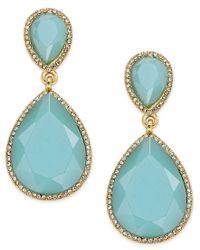 ABS By Allen Schwartz   Metallic Gold-tone Blue Stone And Pave Drop Earrings   Lyst