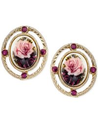 2028 - Metallic Gold-tone Purple Beaded Floral Image Stud Earrings - Lyst