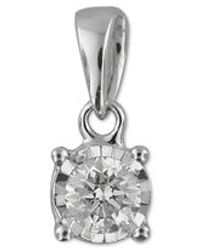 Macy's - Metallic Diamond Drop Pendant (1/5 Ct. T.w.) In 10k White Gold - Lyst