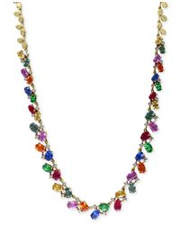 Effy Collection | Metallic Watercolors By Effy Multi-gemstone (17-3/4 Ct. T.w.) And Diamond (1 Ct. T.w.) Statement Necklace In 14k Gold | Lyst