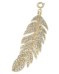 INC International Concepts - Metallic M. Haskell For Inc Gold-tone Pave Feather Clip-on Pendant, Only At Macy's - Lyst