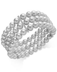 Macy's | Metallic Gray Cultured Freshwater Pearl (7mm) And Cubic Zirconia Three Row Bracelet In Sterling Silver | Lyst
